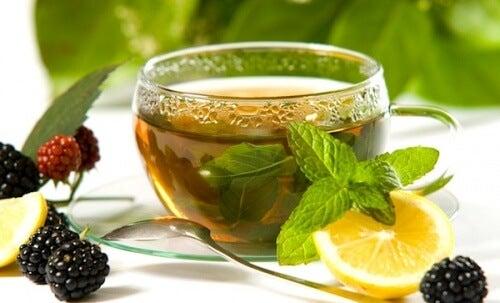 Getränk zum Abnehmen mit grünem Tee, Zitrone und Ingwer.