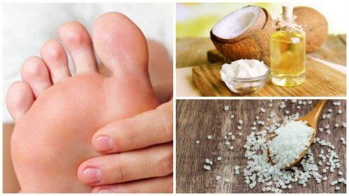 Peeling aus Kokosöl und Salz gegen Hornhaut an den Füßen