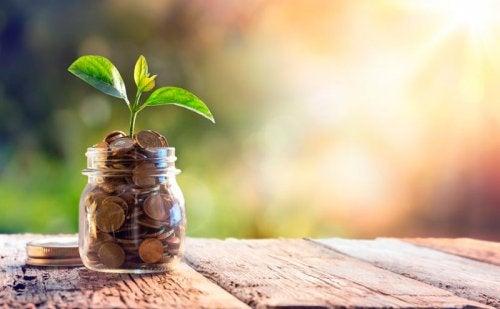 Glas mit Geld und Pflanze - Geldsparen mit Kakebo
