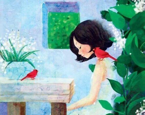 Ein Mädchen mit hängendem Kopf und einem Vogel auf der Schulter wird sich bewusst darüber, dass sie Taten statt Worte braucht.