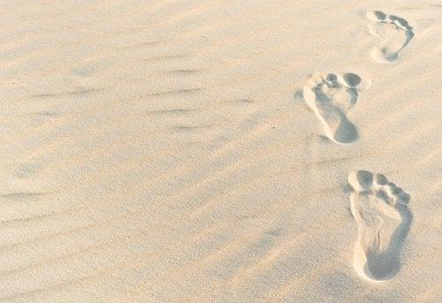 Windlichter und Abdrücke im Sand