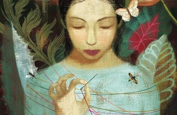 Ein Mädchen mit geschlossenen Augen repariert sich selbst mit Nadel und Faden in Stille.