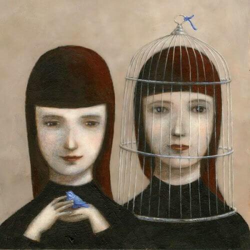 Frau mit Vogel und im Käfig stellt sich die Frage: Wo ist die Liebe meines Lebens?