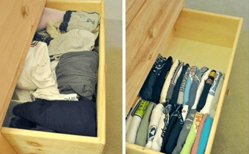 T-Shirts vertikal in der Schublade aufbewahren, um mehr Ordnung zu Hause zu haben