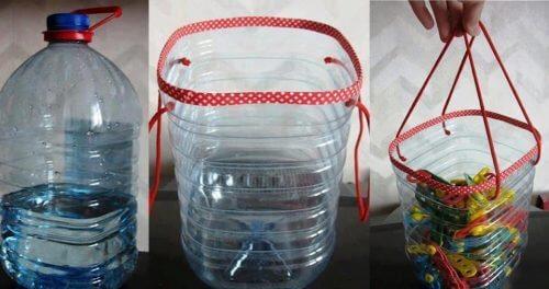Plastikflaschen recyceln und damit einen Korb herstellen