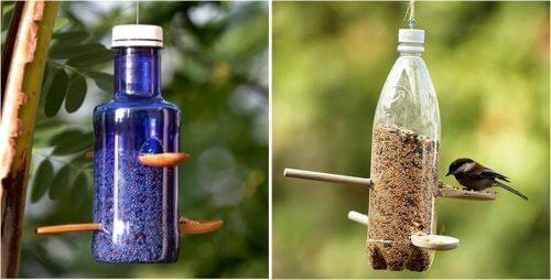 Plastikflaschen recyceln als Futterspender für Vögel