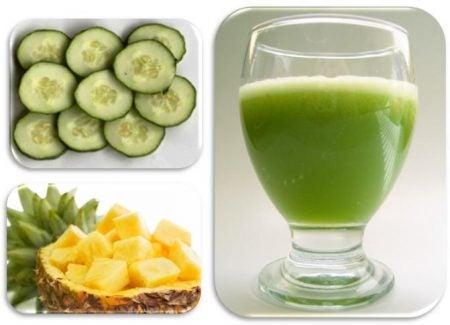 Detox-Getränke mit Gurke und Ananas