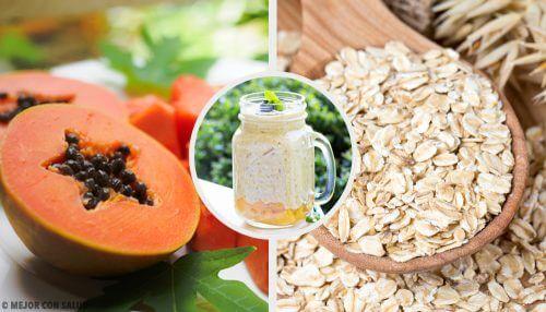 Verdauungsfördernder Drink mit Papaya, Apfel und Hafer