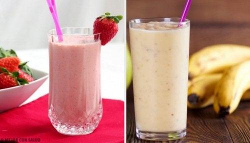 5 Frühstücksdrinks mit Banane und Erdbeeren