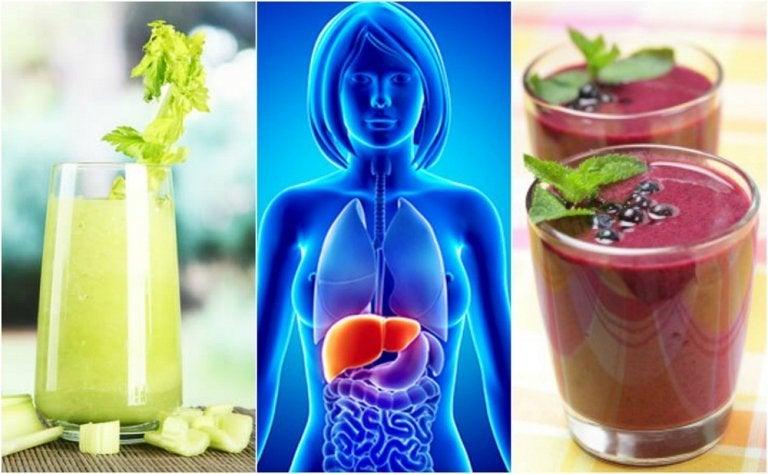 4 Mixgetränke mit Obst und Gemüse zur Reinigung der Leber