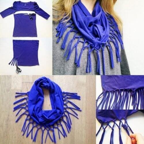 9 tolle Arten alte Baumwollshirts zu recyclen - Schals