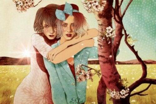 zwei Frauen denken über die Liebe nach