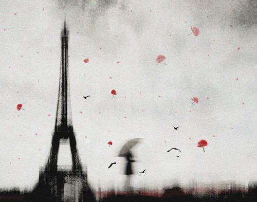 Frau beim Eiffelturm stellt sich die Frage: Was ist der Preis der Einsamkeit?