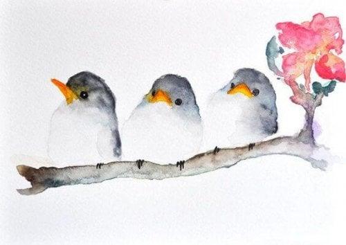 Vögel auf einem Zweig als Symbol dafür, dass Freunde oder Partner einfühlsam sind