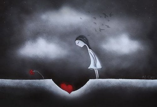 Frau denkt an zerbrochene Liebe und sucht eine positive Einstellung