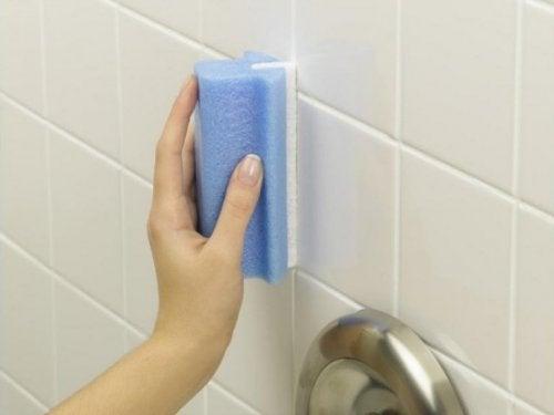 Reinigung des Badezimmers: Dusche und Fliesen