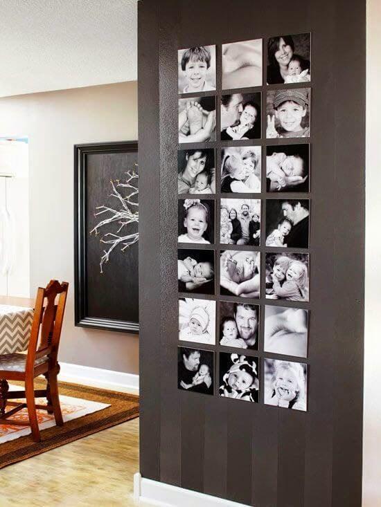 Künstlerischer Raumteiler mit Fotos