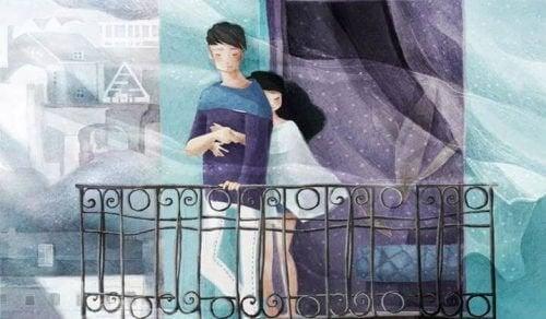 Wie das Paar auf dem Balkon, sind wir an Menschen gebunden, die ehrlich zu uns sind, uns lieben und auf unserer Seite sind.