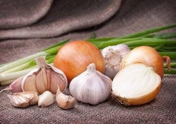 Zwiebeln und Knoblauch als Heilmittel gegen einen kratzigen Hals.