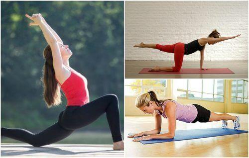 Eine Frau macht Gymnastik zur Linderung von Iliosakralgelenkschmerzen.