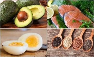 Lebensmittel mit gesunden Fetten.