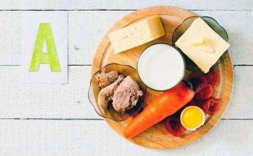 Lebensmittel enthalten Vitamine für die Haut