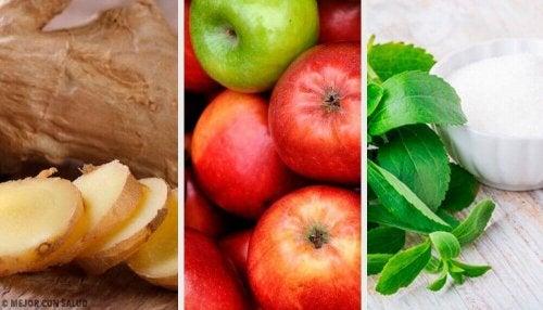 Lindere die Folgen von Überernährung mit einem Getränk aus Ingwer, Stevia und Apfel