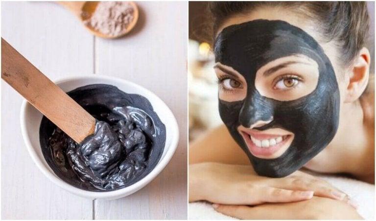 Schwarze Gesichtsmaske gegen Pickel und Mitesser