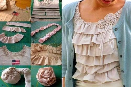 Alte Kleidung wiederverwenden, um daraus Blumen selbst zu machen