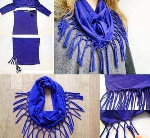 Alte Kleidung wiederverwenden und daraus einen Schal selbstmachen