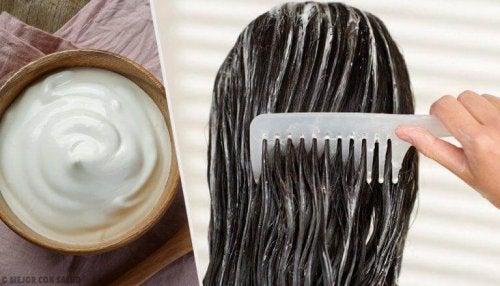 Haarmaske mit Mayonnaise, Aloe Vera und Tomaten für voluminöses Haar