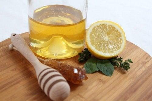 Zitrone und Honig gegen Fließschnupfen.