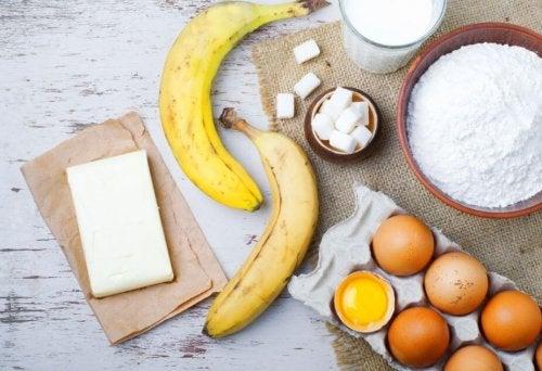 Zutaten für den Bananenkuchen