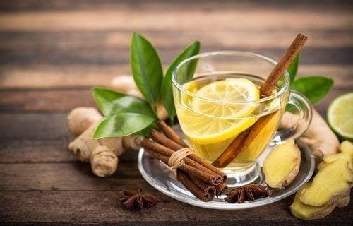 Tee aus Zimt und Zitrone