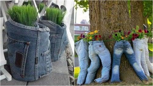 Blumentöpfe aus alten Jeans