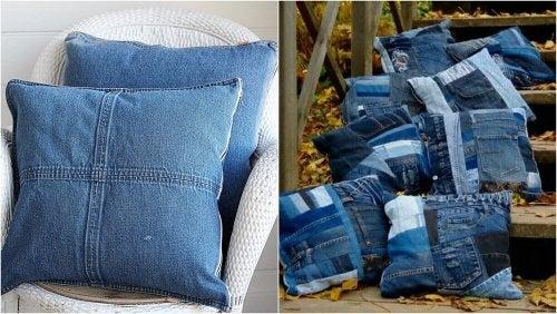 Selbstgemachte Kissen aus alten Jeans