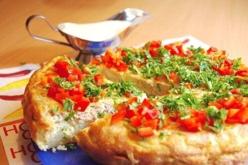 Leckere gefülltes Omelette