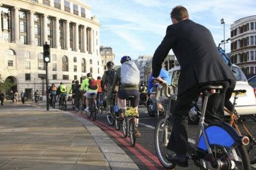 Eine Reihe an Fahrradfahrern, die den Fahrradweg benutzen.
