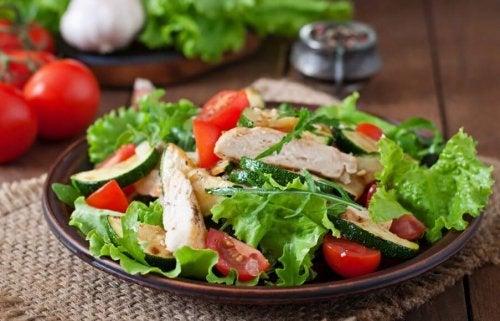 Salat mit Hühnerbruststreifen