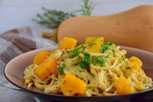 Leckeres Rezept für Spaghetti mit Kürbis