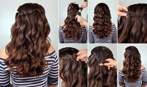 Schritt für Schritt darstellen, wie eine Frisur mit Zopf entsteht.