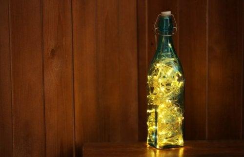 Flasche als Tischdeko