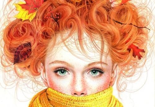 Zeichnung eines rothaarigen Mädchens, das einen Schal trägt.