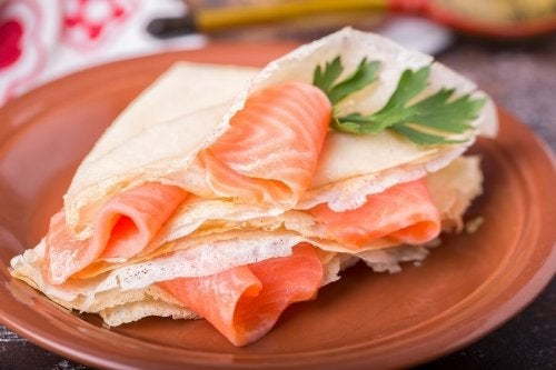 Crepes mit Lachs