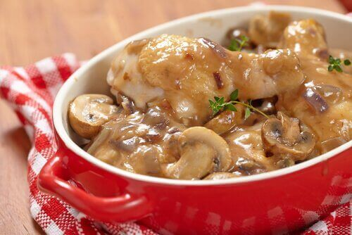 Rezept für Kartoffeln mit Pilzsoße