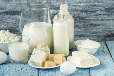 Verschiedene Milcherzeugnisse, wie Käse und Milch.