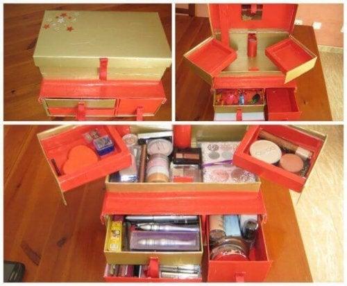 Selbstgemachte Kosmetik-Organizer mit mehreren Lagen