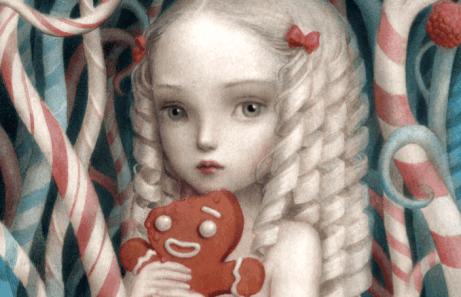 Zeichnung eines Mädchnes mit Lebkuchen und Süßigkeiten. Das Kind ist verwöhnt.