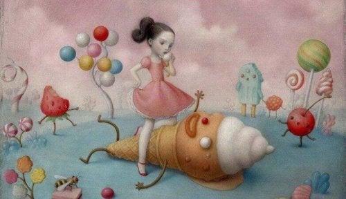 Zeichnung eines Mädchens, das über einer Eiscreme-Gestalt steht. Das Kind ist verwöhnt.
