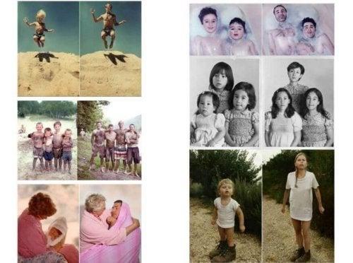 Stelle lustige Familienfotos nach